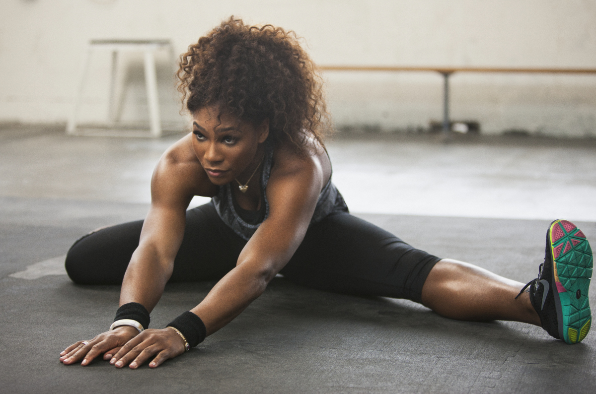 "Serena Williams on-set in California filming a workout for the Nike Training Club App.  Launching this Spring, the bonus workout will be offered as a reward for NTC App users.  The Nike Training Club App serves as a personal trainer in the palm of your hand, allowing users to select 15, 30 or 45 minute workouts to ""get lean"", ""get toned"", ""get strong"" or ""get focused"".  Users can then choose from Beginner, Intermediate or Expert level workouts, and select music for the workout from their iTunes library. [Via MerlinFTP Drop]"